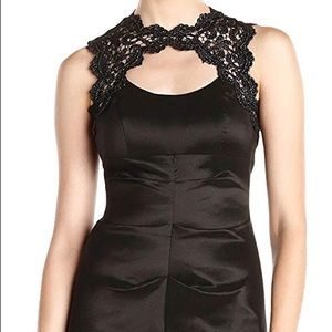 Ruched Gown with Lace Top and Cut Out